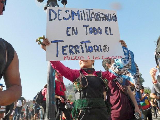 Mapuche se suman a las protestas en Chile, octubre de 2019. Foto: Juan Trujillo Limones