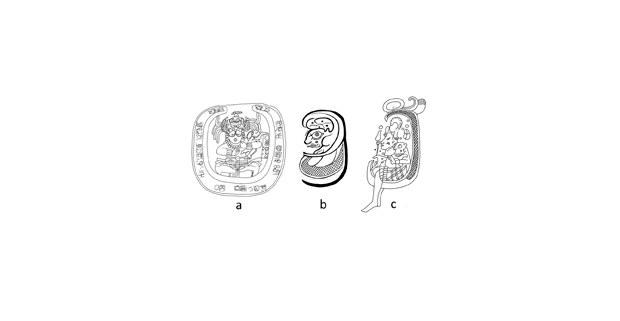 Figura 2. Imágenes mayas de conejos en la Luna: a) Piedra Labrada 2, Bonampak; b) Detalle de glifo perteneciente al Tablero de los 96 Glifos, Palenque; c) Detalle del Vaso del American Museum of Natural History, Nueva York.