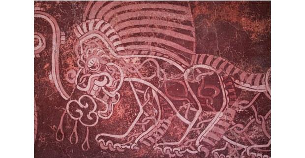 Mural teotihuacano, Atetelco. Foto: Mario Olarte