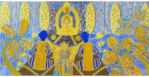 Meditación al atardecer. Pintura de Armando Brito