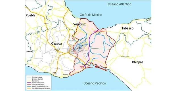 Mapa general del corredor interoceánico del Istmo de Tehuantepec sobre los territorios del Distrito Mixe, en Oaxaca. Proporcionado por la autora.