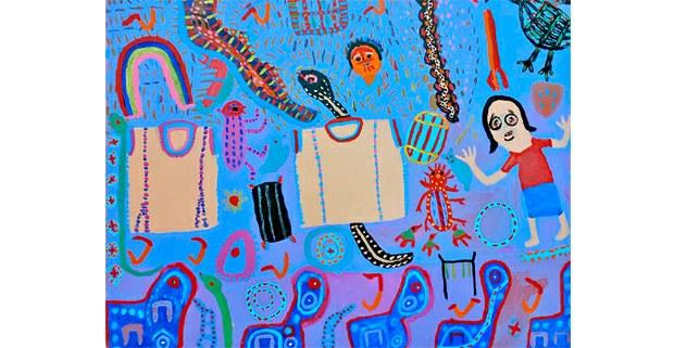 Pintura de Maruch Méndes, artista tsotsil. Expone en la Galería Muy, San Cristóbal de Las Casas, Chiapas