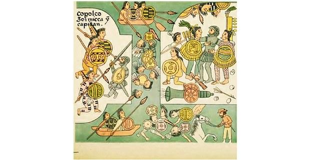 De un lado, Cortés ha caído de su caballo y es asaltado por tres guerreros mexicas. En el agua se libra una batalla feroz. Del otro lado se ve un cañó n disparando y a Cortés desarmado lo salvan dos guerreros tlaxcaltecas a quienes abraza. Lienzo de Tlaxcala, Lámina 47. Publicado por Alfredo Chavero, México, 1892. (recogido en 500 años de la batalla por México-Tenochtitlan, de Enrique Semo)