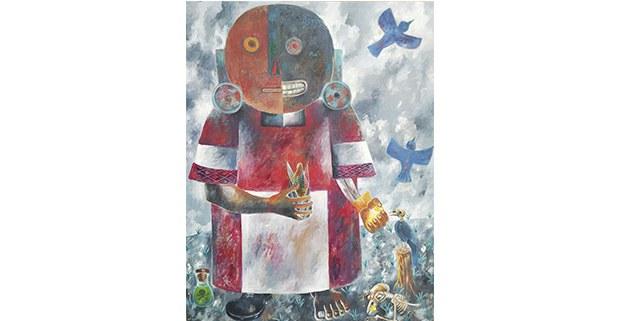 En homenaje al pájaro Azul y otros que mueren envenados. Pintura de Antonio Kojtom, artista tseltal de Tenejapa, Chiapas