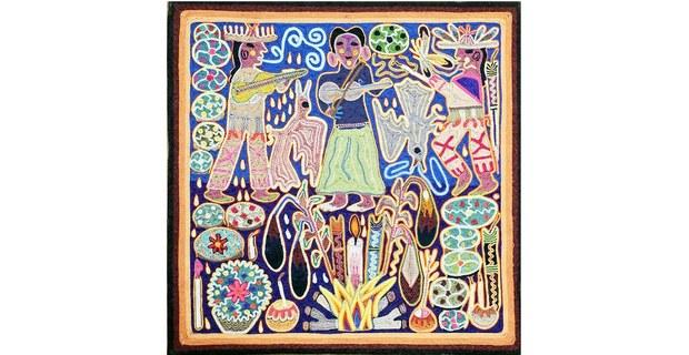 Obra de Pedro Carrillo Montoya (1957-2021), marak'ame, cantador, médico tradicional y artista plástico wixárika fallecido recientemente