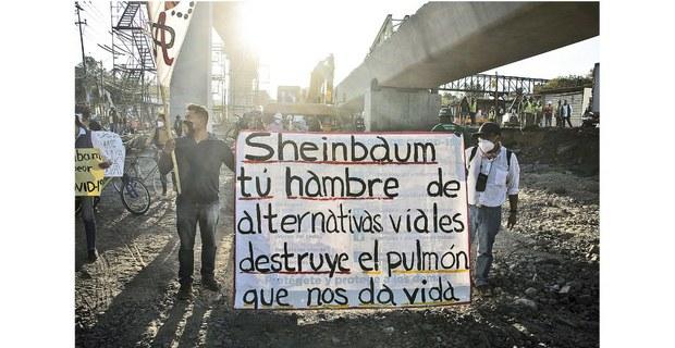Protesta de pobladores de Xochimilco contra la destrucción de humedales, 2021. Foto: Tamara Blázquez Haik