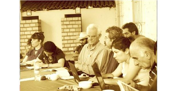 Jean Robert en un taller preparativo de una sesión del Tribunal Permanente de los Pueblos en San Isidro, Jalisco, 2013. Foto: Daniela Garrido